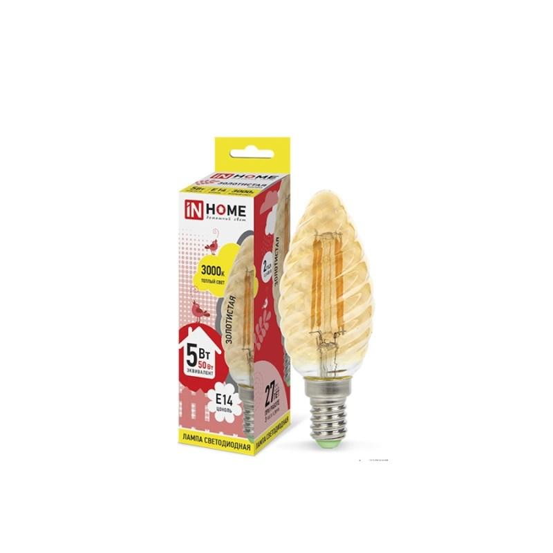 Лампа светодиодная LED-СВЕЧА ВИТАЯ-deco 5W 230В Е14 3000К 450Lm золотистая IN HOME