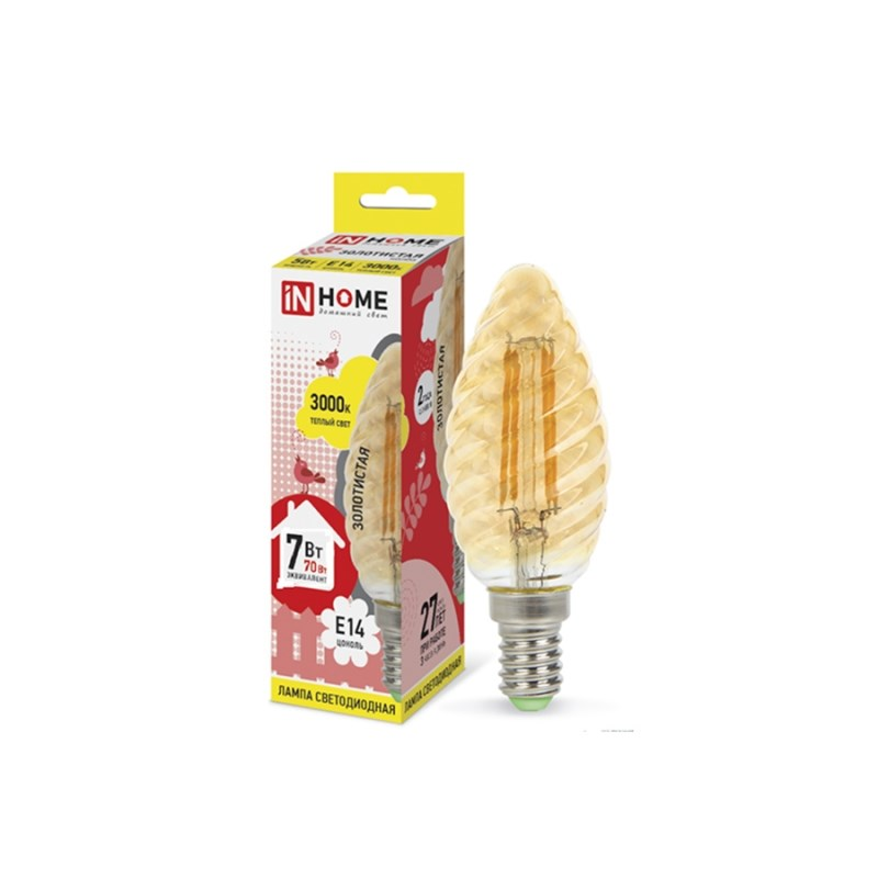 Лампа светодиодная LED-СВЕЧА ВИТАЯ-deco 7W 230В Е14 3000К 630Lm золотистая IN HOME
