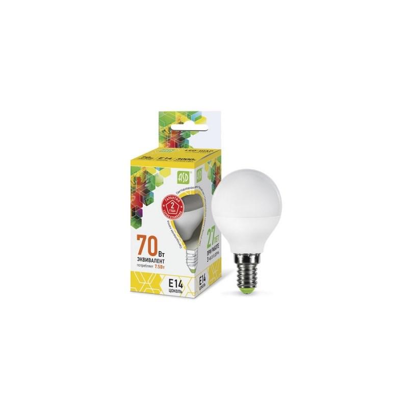 Шарообразная лампа светодиодная LED-ШАР-standard 7.5Вт 230В Е14 3000К 675Лм ASD