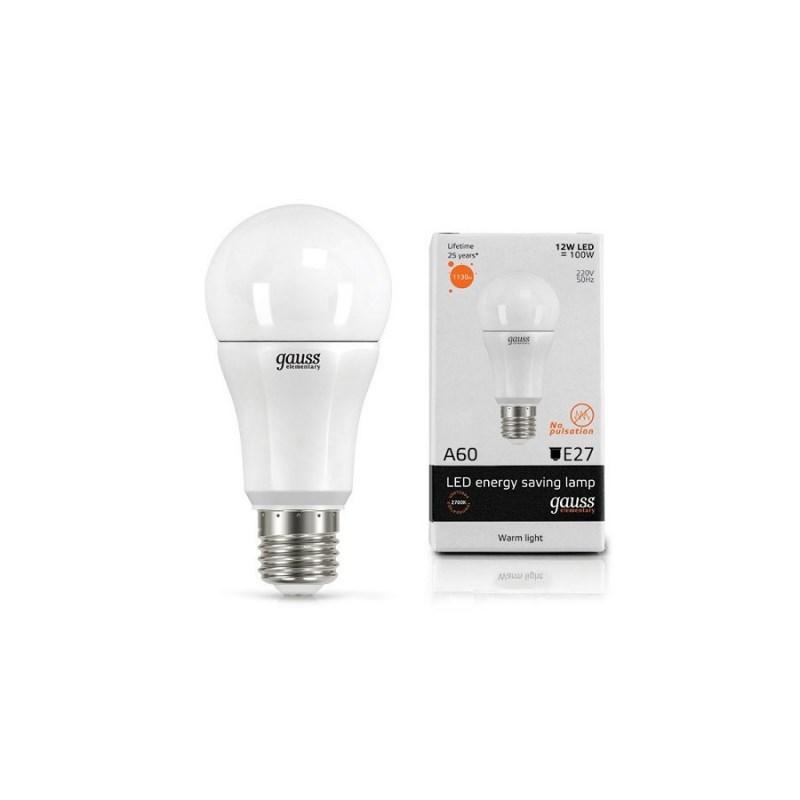 Светодиодная лампа GAUSS-Elementary ЛОН 12W E27 2700К 1130 Lm
