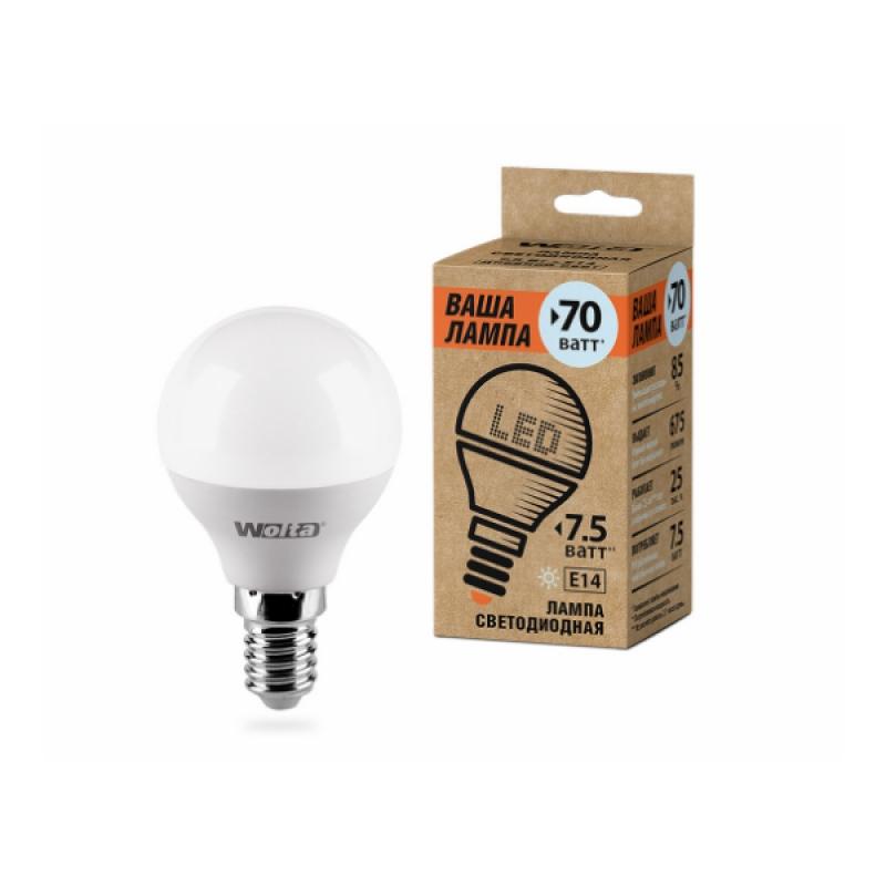 Шарообразная лампа светодиодная 25S45GL7.5E14-P 7.5W 230В Е14 4000К 675Lm Wolta