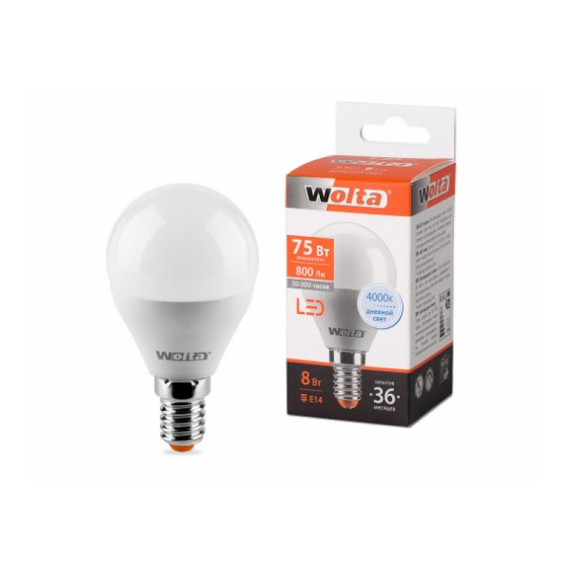 Шарообразная лампа светодиодная 25S45GL8E14 8W 230В Е14 4000К 800Lm Wolta