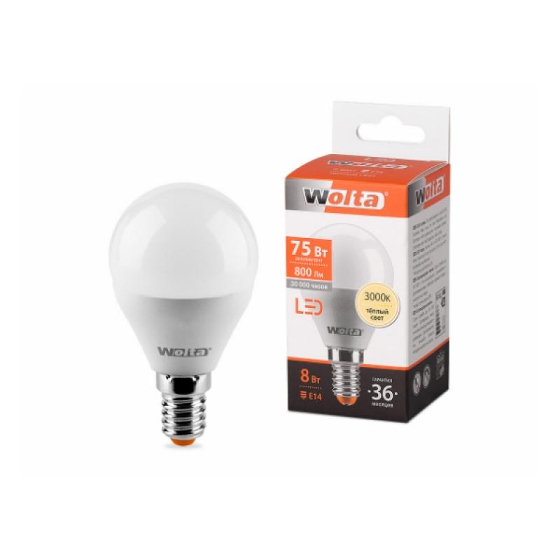 Шарообразная лампа светодиодная 25Y45GL8E14 8W 230В Е14 3000К 800Lm Wolta