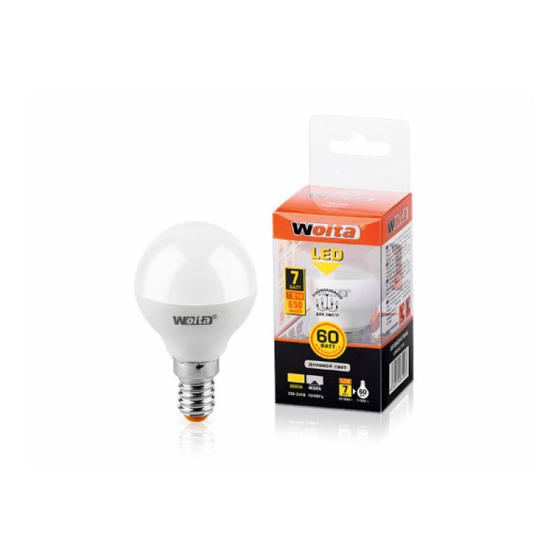 Шарообразная лампа светодиодная 25S45GL7E14 7W 230В Е14 4000К 650Lm Wolta