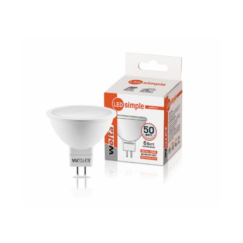 Лампа светодиодная 25SMR16-220-6GU5.3-S 6Вт 230В GU5.3 4000К 500Лм Wolta