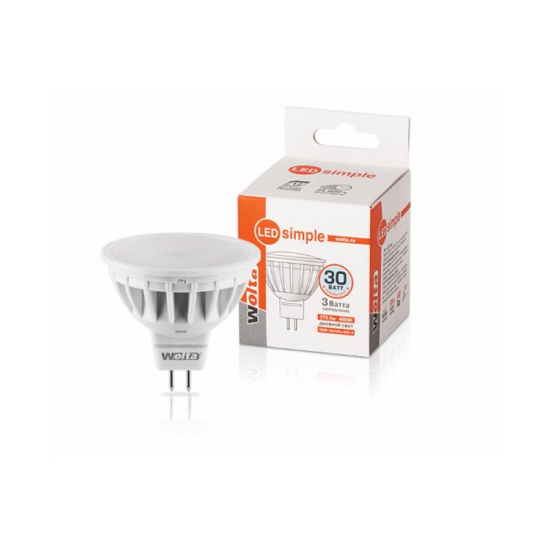 Лампа светодиодная 25SMR16-220-3GU5.3-S 3Вт 230В GU5.3 4000К 270Лм Wolta