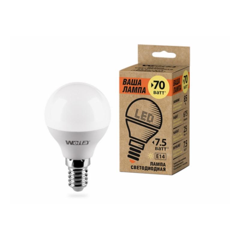 Шарообразная лампа светодиодная 25Y45GL7.5E14-P 7.5W 230В Е14 3000К 675Lm Wolta