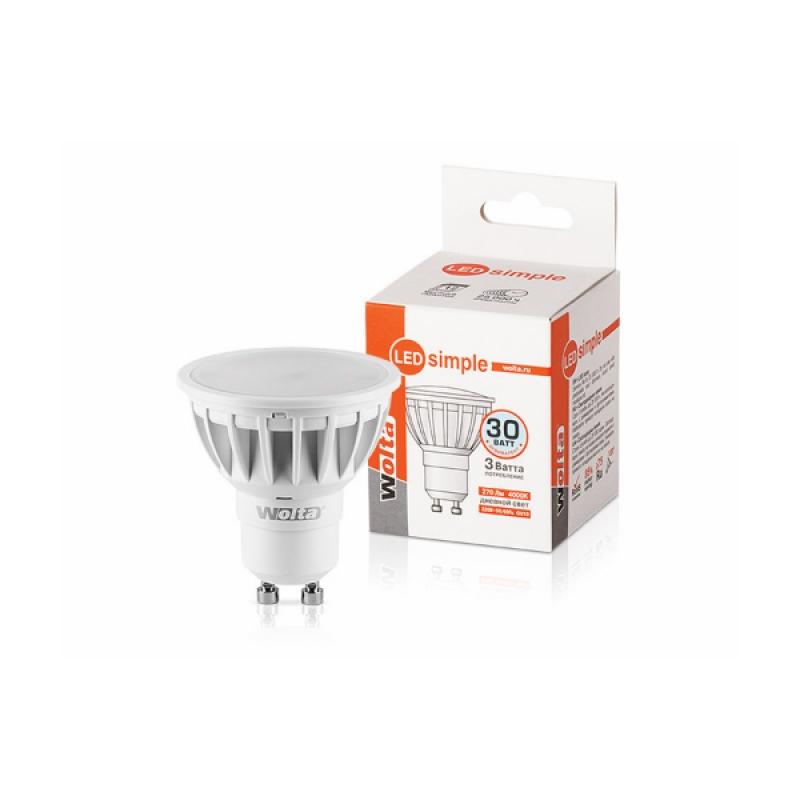 Лампа светодиодная 25SPAR16-230-3GU10-S 3Вт 230В GU10 4000К 270Лм Wolta