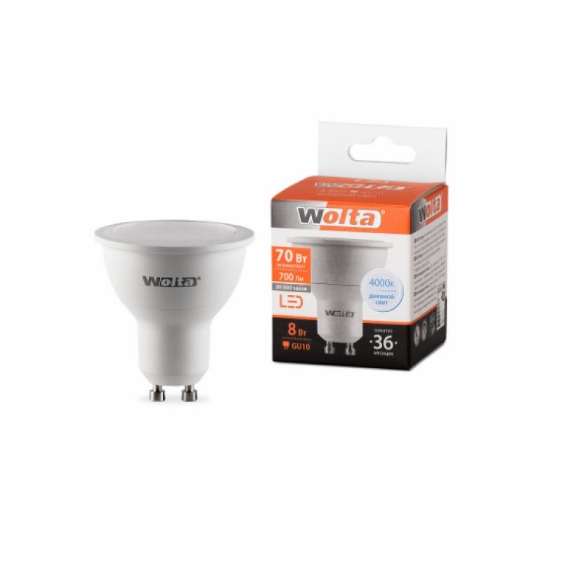 Лампа светодиодная 25SPAR16-230-8GU10 8Вт 230В GU10 4000К 700Лм Wolta