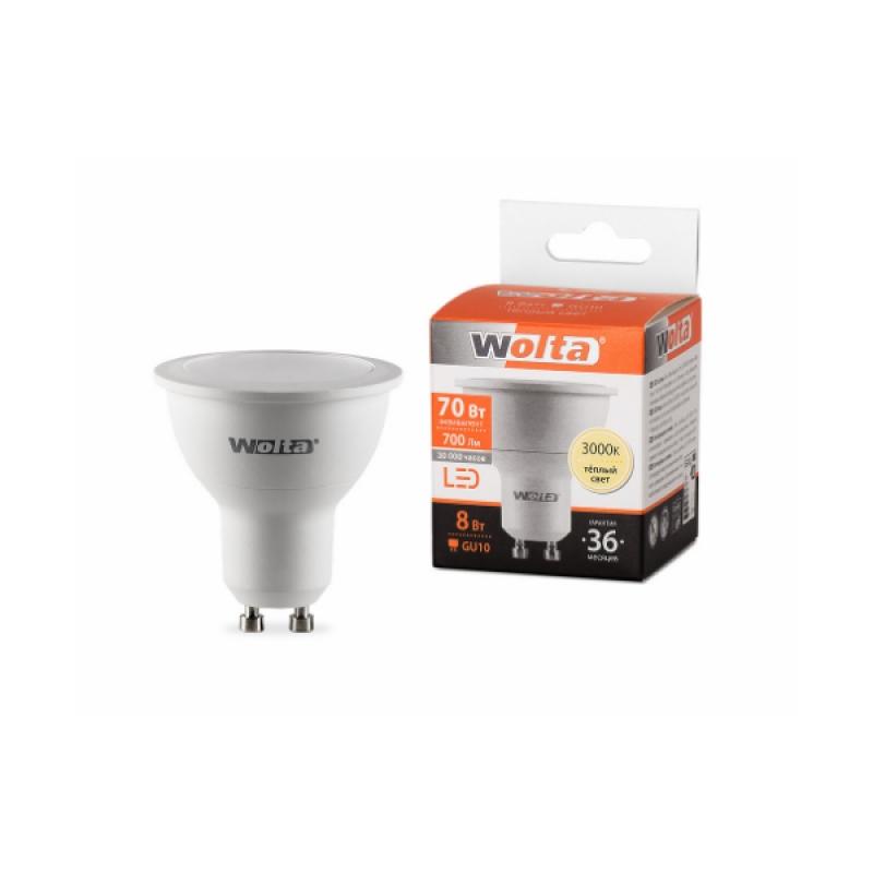 Лампа светодиодная 25YPAR16-230-8GU10 8Вт 230В GU10 3000К 700Лм Wolta