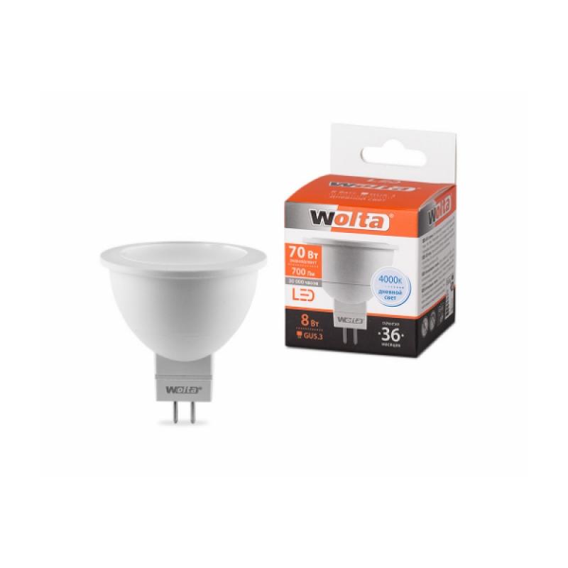 Лампа светодиодная 25SMR16-220-8GU5.3 8Вт 230В GU5.3 4000К 700Лм Wolta