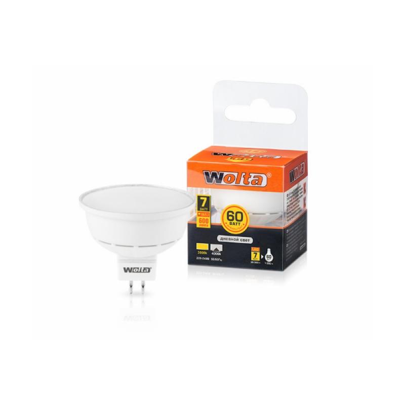Лампа светодиодная 25SMR16-220-7GU5.3 7Вт 230В GU5.3 4000К 600Лм Wolta