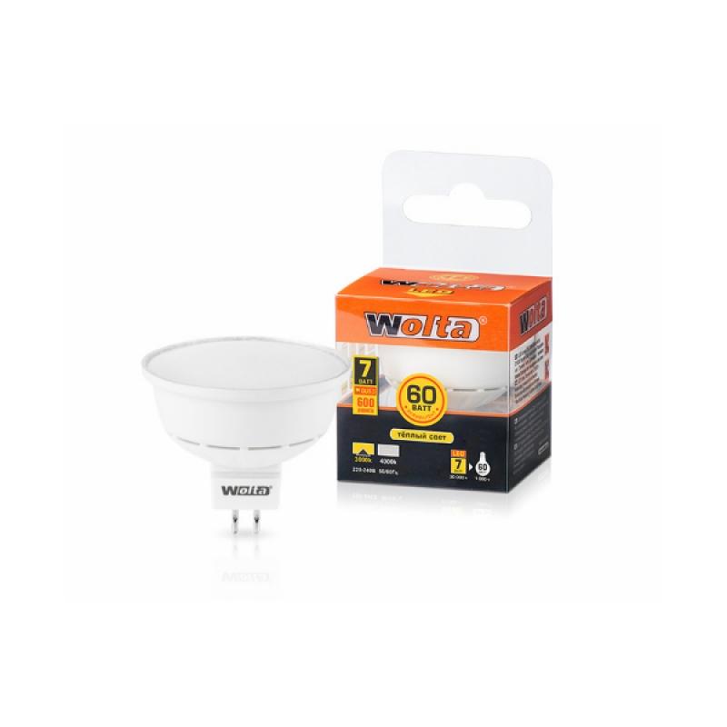 Лампа светодиодная 25YMR16-220-7GU5.3 7Вт 230В GU5.3 3000К 600Лм Wolta