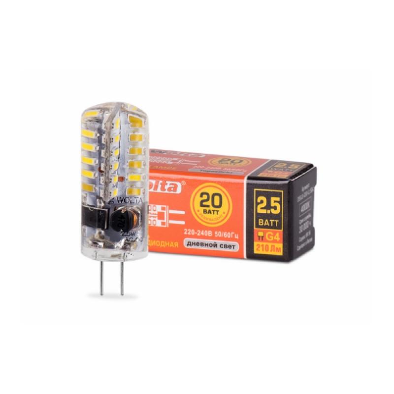 Лампа светодиодная 25SJC-230-2.5G4 2.5Вт 230В G4 4000К 200Лм Wolta