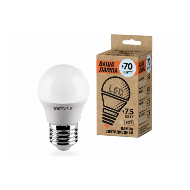Шарообразная лампа светодиодная 25S45GL7.5E27-P 7.5W 230В Е27 4000К 675Lm Wolta