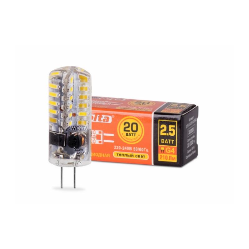 Лампа светодиодная 25YJC-230-2.5G4 2.5Вт 230В G4 3000К 200Лм Wolta