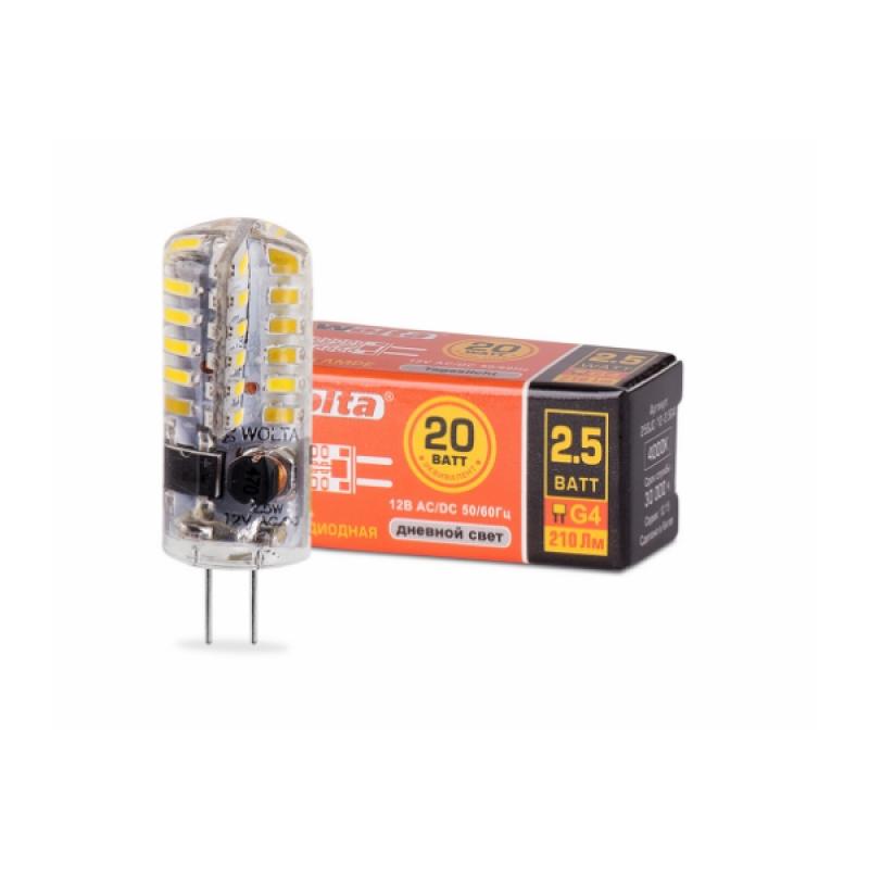 Лампа светодиодная 25SJC-12-2.5G4 2.5Вт 230В G4 4000К 200Лм Wolta