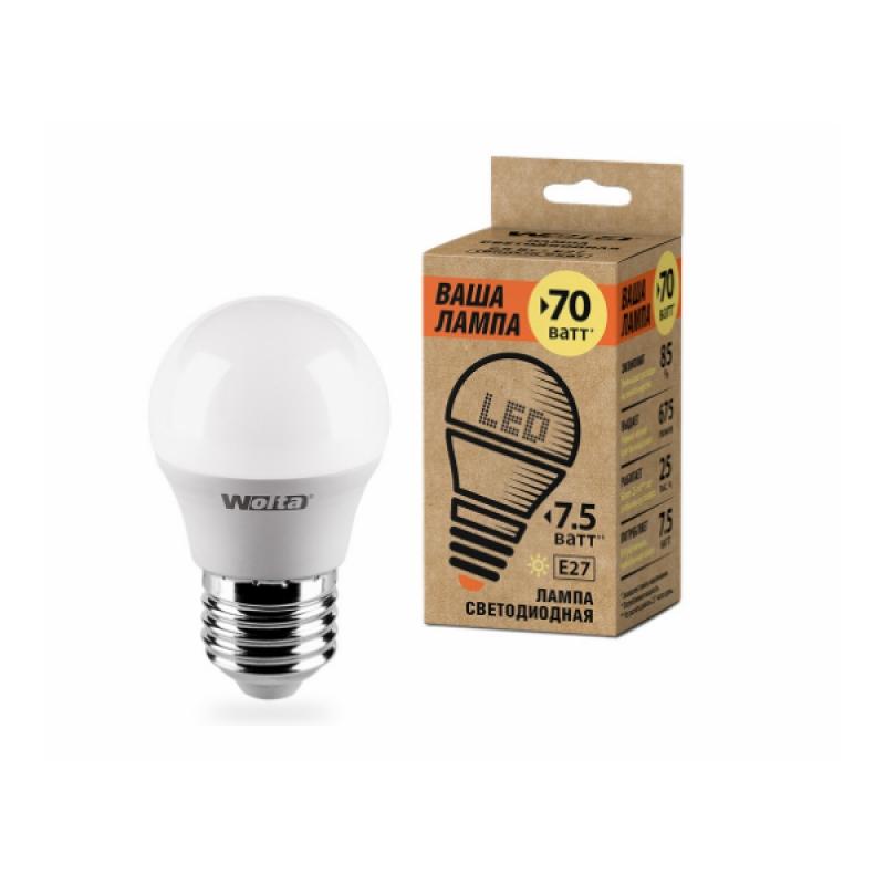 Шарообразная лампа светодиодная 25Y45GL7.5E27-P 7.5W 230В Е27 3000К 675Lm Wolta