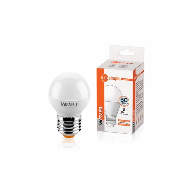 Шарообразная лампа светодиодная 25S45GL6E27-S 6W 230В Е27 4000К 500Lm Wolta