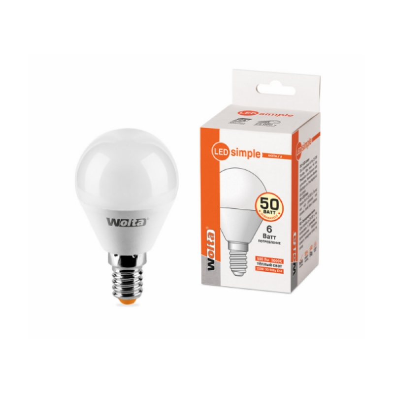 Шарообразная лампа светодиодная 25Y45GL6E14-S 6W 230В Е14 3000К 500Lm Wolta