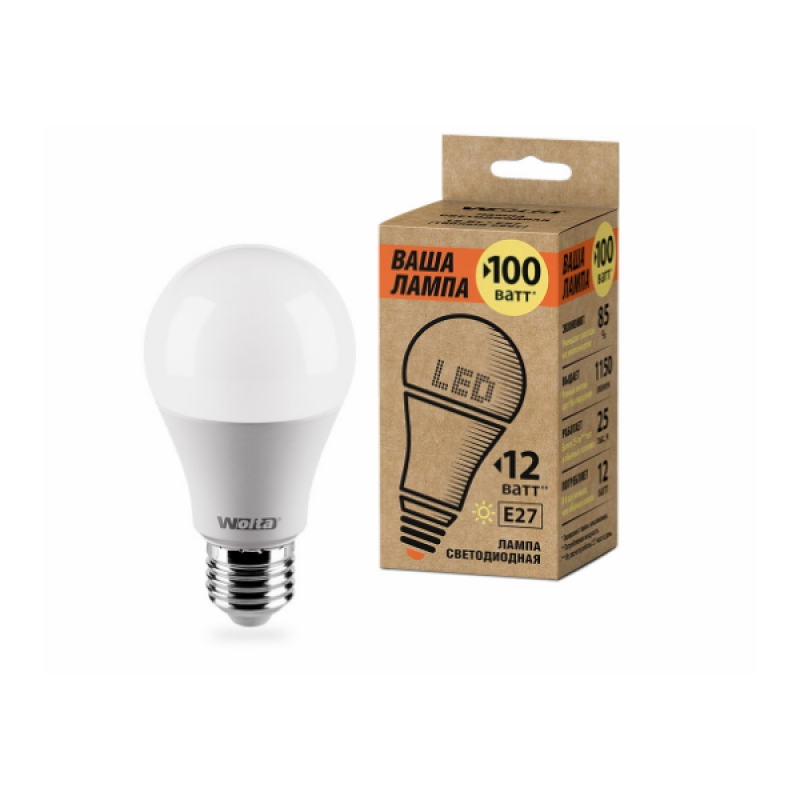 Лампа светодиодная 25Y60BL12E27-P 12W 230В Е27 3000К 1150Lm Wolta