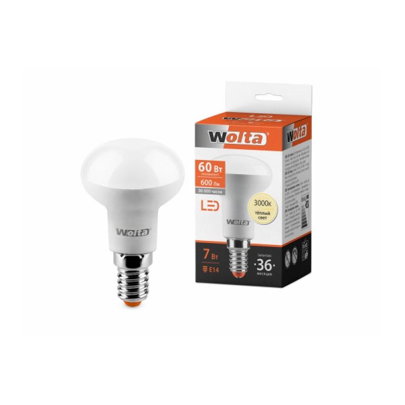 Лампа светодиодная 25Y50R7E14 7W 230В Е14 3000К 650Lm Wolta