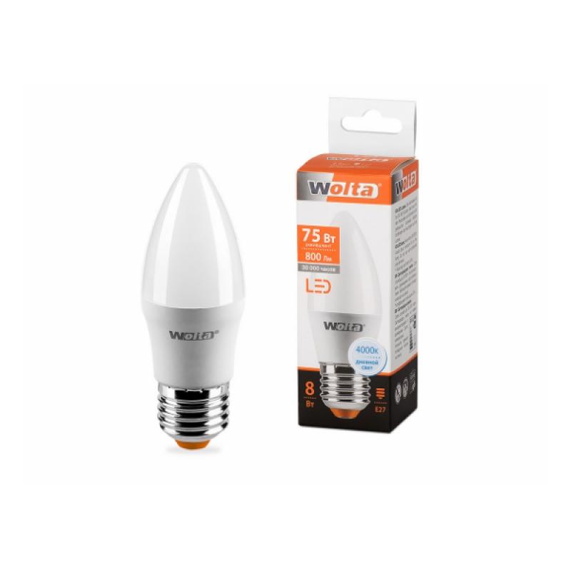 Лампа светодиодная 25SC8E27 Свеча 8W 230В Е27 4000К 800 Lm Wolta