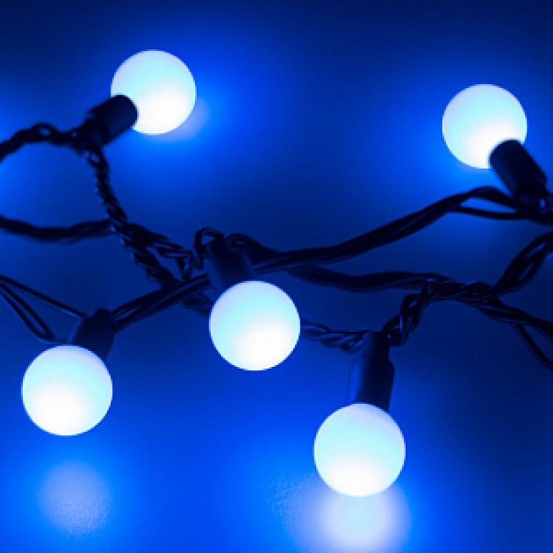 Arlight Светодиодная гирлянда ARD-BALL-CLASSIC-D13-10000-BLACK-100LED BLUE (230V, 7W)
