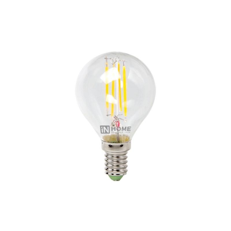 Шарообразная лампа светодиодная LED-ШАР-deco 5W 230В Е14 3000К 450Lm прозрачная IN HOME