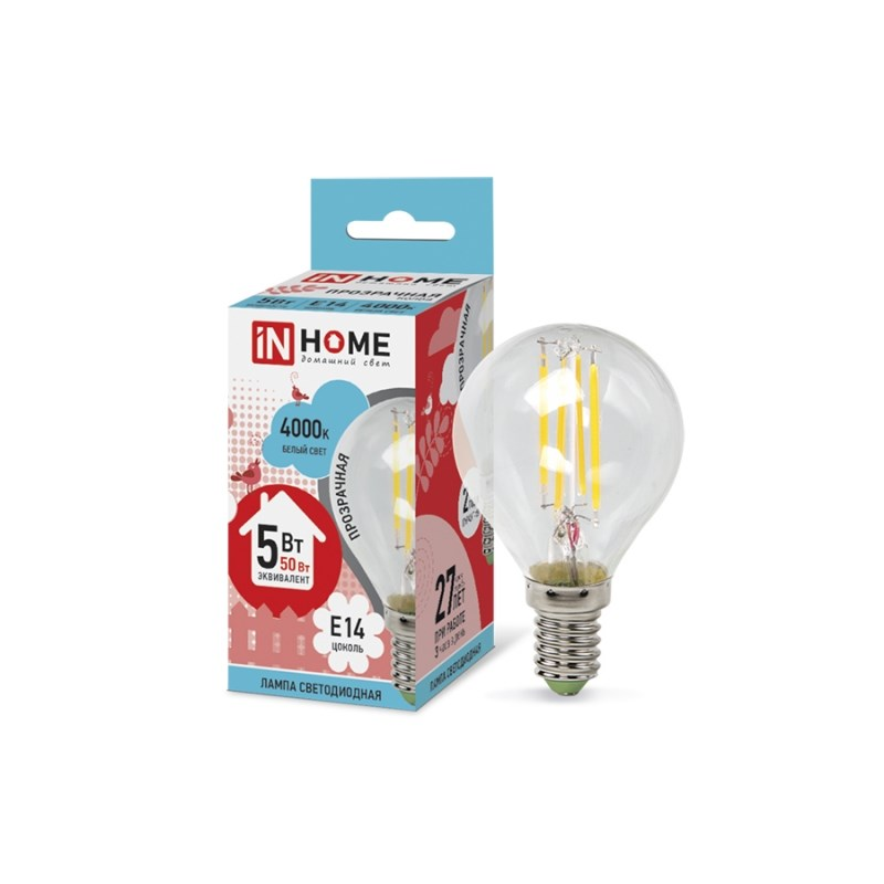 Лампа светодиодная LED-ШАР-deco 5W 230В Е14 4000К 450Lm прозрачная IN HOME