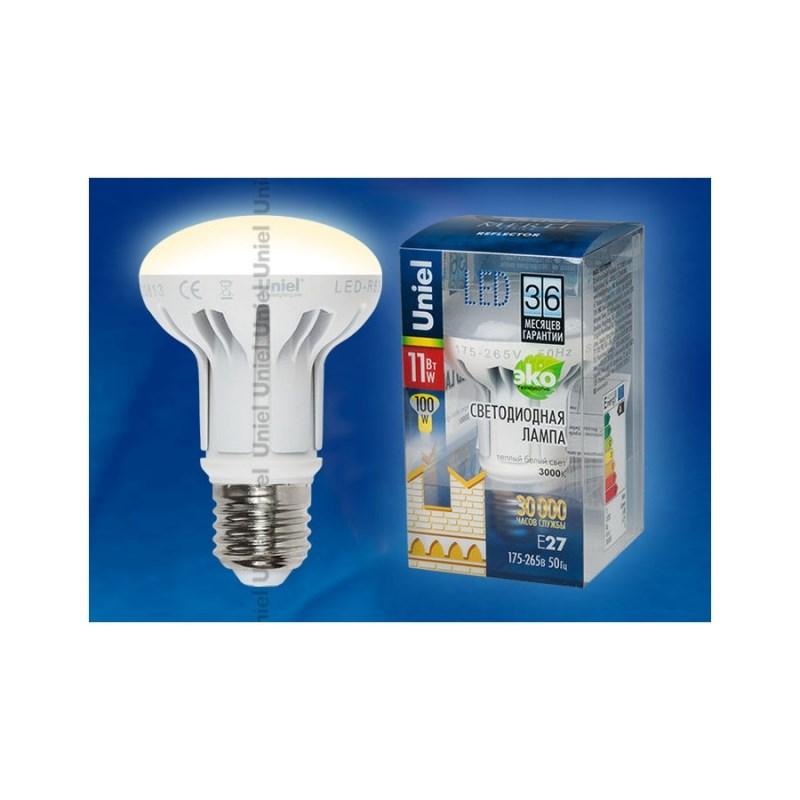 Лампа светодиодная Uniel Merli рефлектор LED-R63-11W/WW/E27/FR ALM01WH