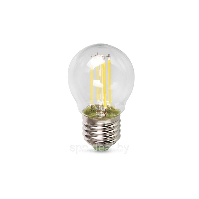 Шарообразная лампа светодиодная LED-ШАР-deco 5W 230В Е27 4000К 450Lm прозрачная IN HOME