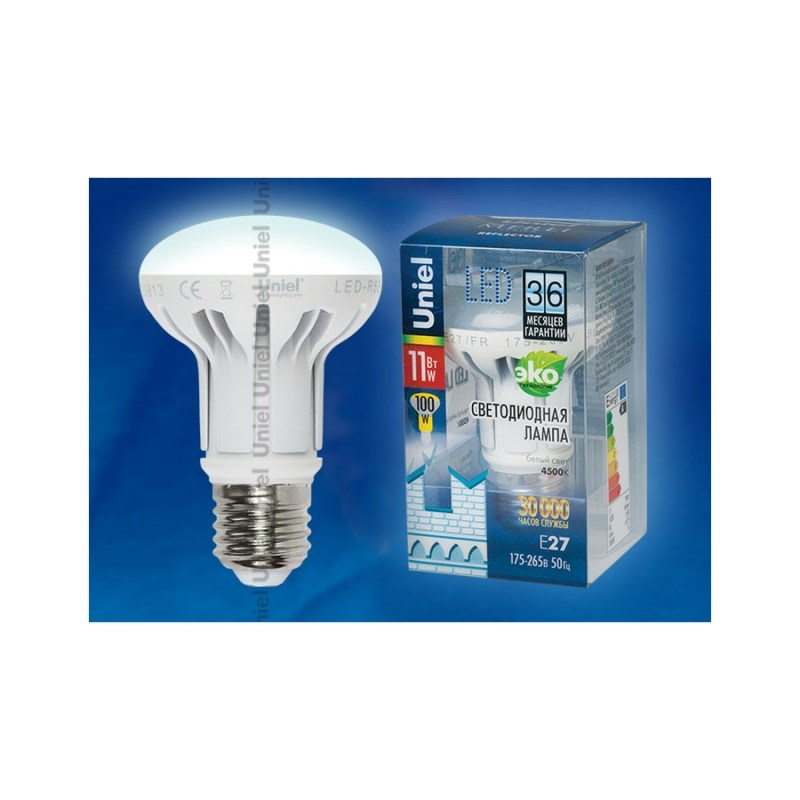 Лампа светодиодная Uniel Merli рефлектор LED-R63-11W/NW/E27/FR ALM01WH