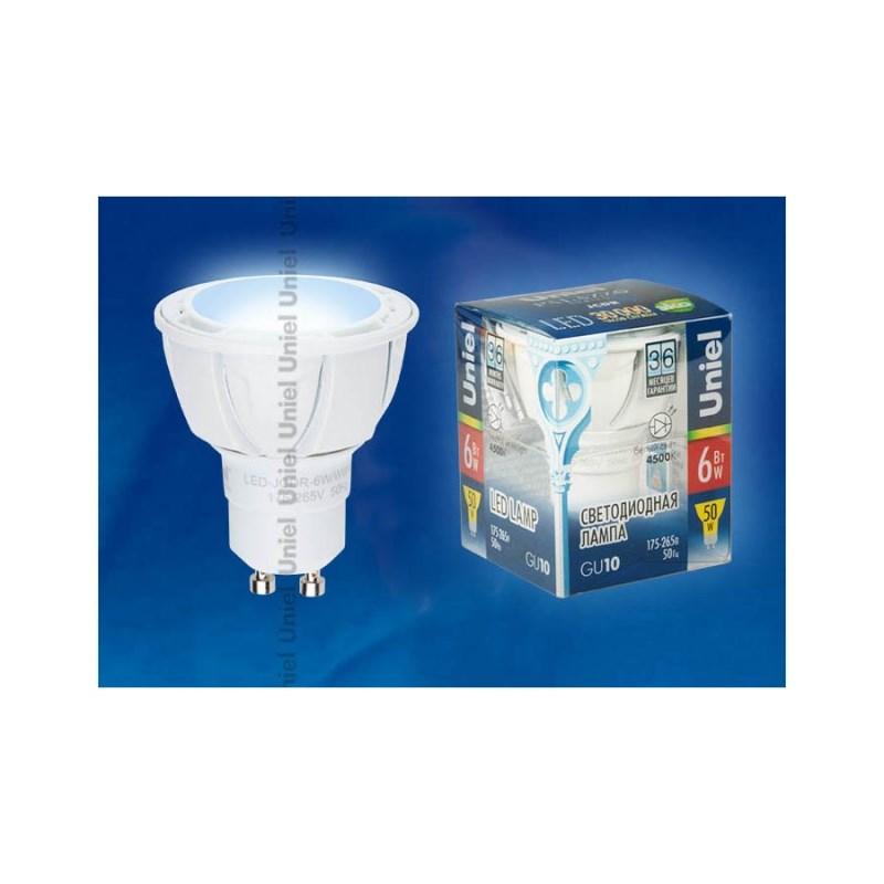Светодиодная лампа софит Uniel Palazzo LED-JCDR-6W/NW/GU10/FR/38D ALP01WH