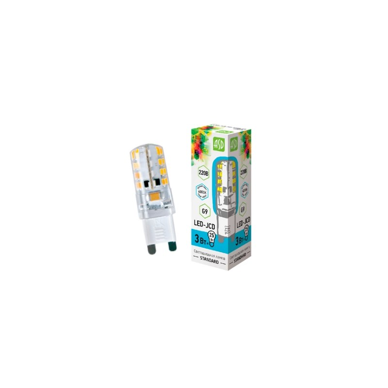 Лампа светодиодная LED-JCD-standard 3Вт 230В G9 3000К 270Лм ASD