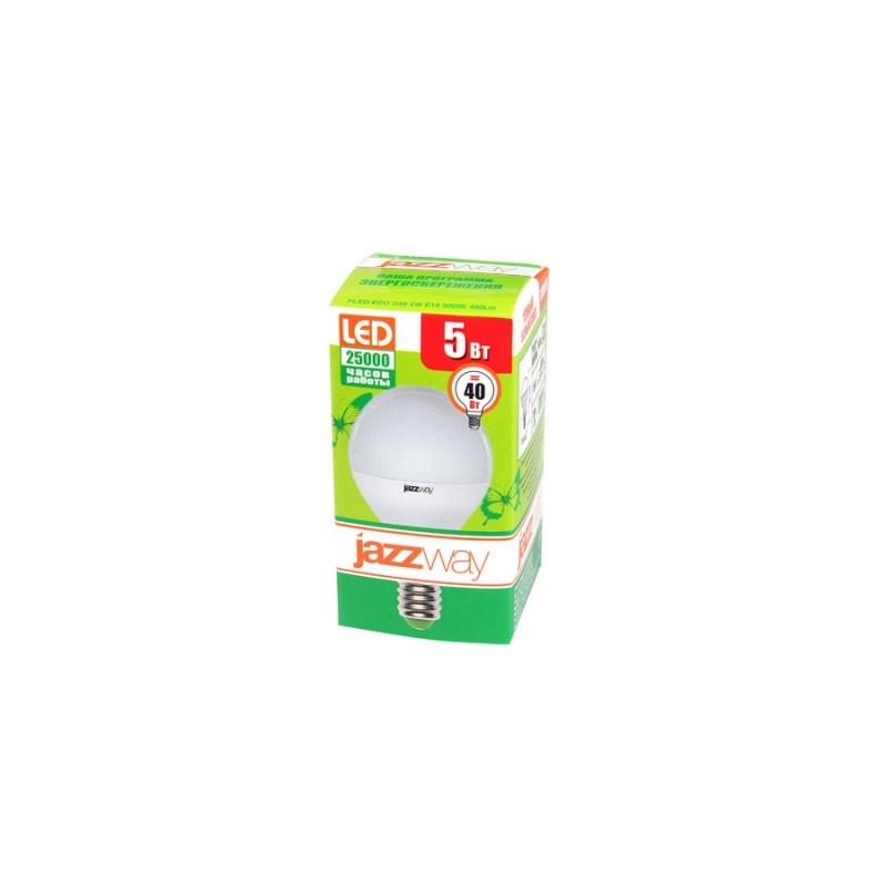Лампа светодиодная шарик PLED-ECO-G45 5w Е14 3000K 220в Jazzway