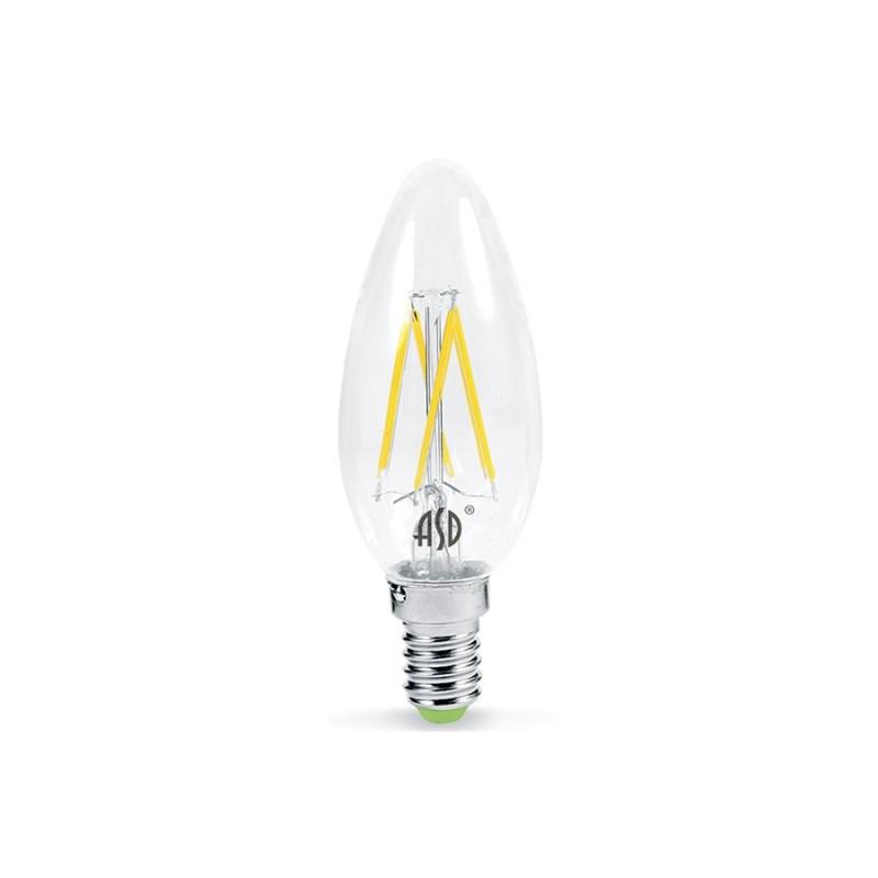 Лампа светодиодная LED-СВЕЧА-PREMIUM 5W 230В Е14 3000К 450Lm прозрачная ASD