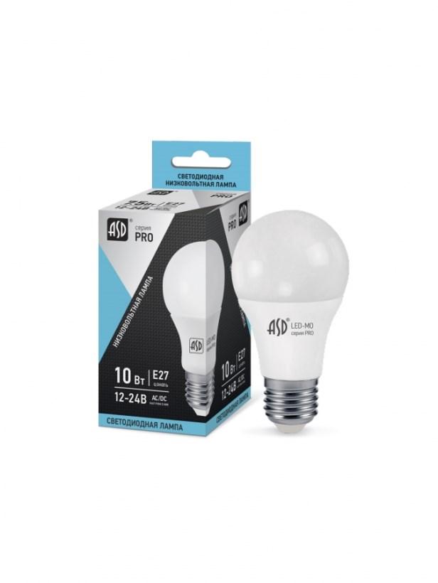 Лампа светодиодная низковольтная LED-MO-12/24V-PRO 10Вт 12-24В Е27 4000К 800Лм ASD