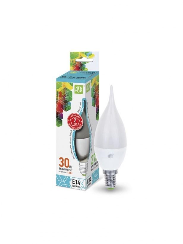 Лампа светодиодная LED-СВЕЧА НА ВЕТРУ-standard 3.5Вт 230В Е14 4000К 320Лм ASD