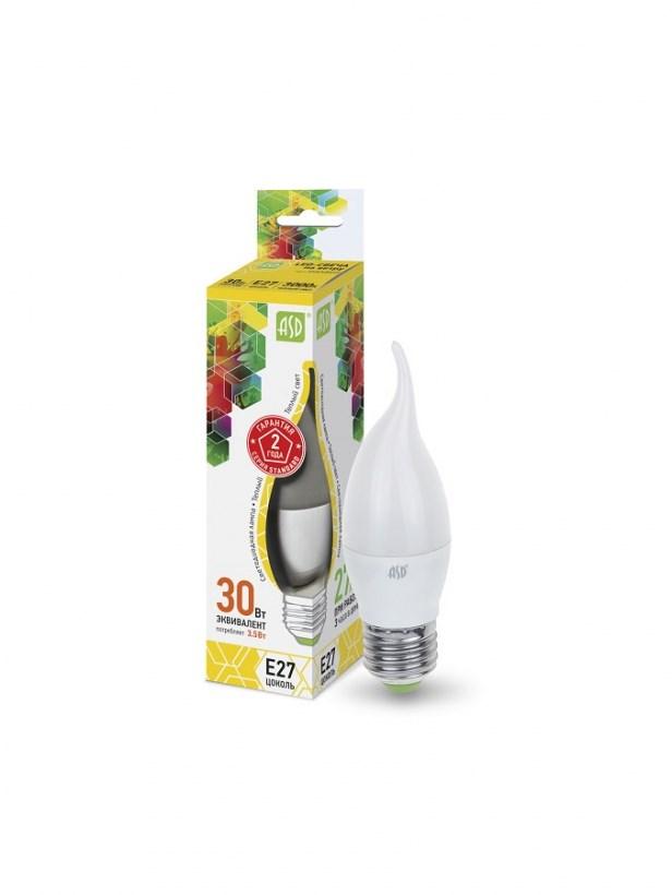 Лампа светодиодная LED-СВЕЧА НА ВЕТРУ-standard 3.5Вт 230В Е27 3000К 320Лм ASD