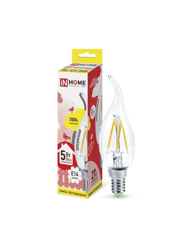 Лампа светодиодная LED-СВЕЧА НА ВЕТРУ-deco 5W 230В Е14 3000К 450Lm прозрачная IN HOME