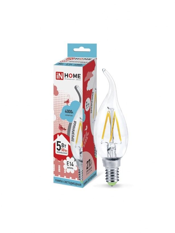 Лампа светодиодная LED-СВЕЧА НА ВЕТРУ-deco 5W 230В Е14 4000К 450Lm прозрачная IN HOME
