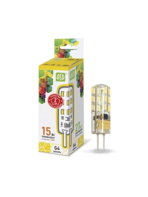 Лампа светодиодная LED-JC-standard 1.5Вт 12В G4 3000К 135Лм ASD