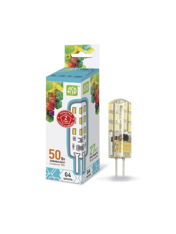 Лампа светодиодная LED-JC-standard 5W 12В G4 4000К 450 Lm ASD