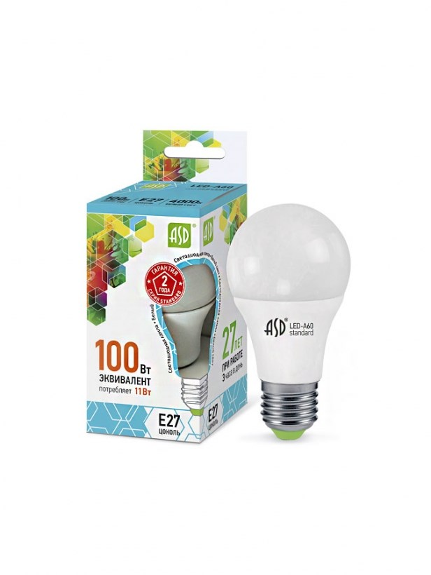 Лампа светодиодная LED-A60-standard 11W 230В Е27 4000К 990Lm  ASD