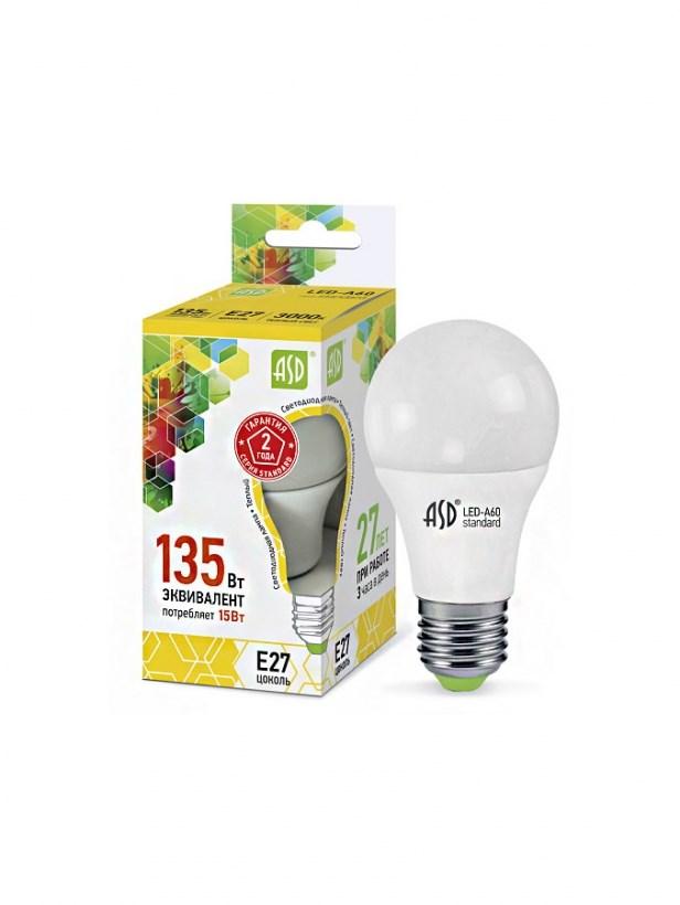 Лампа светодиодная LED-A60-standard 15W 230В Е27 3000К 1350Lm  ASD