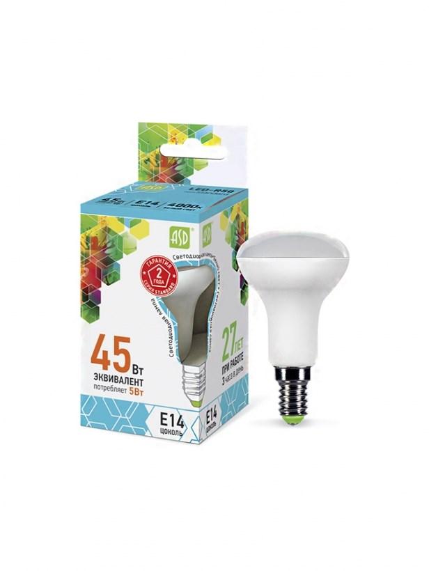 Лампа светодиодная LED-R50-standard 5Вт 230В Е14 4000К 450Лм ASD