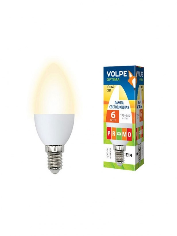Светодиодная лампа серии Optima LED-C37-6W/WW/E14/FR/O