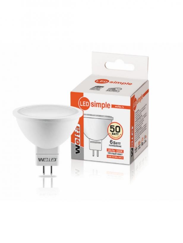 Лампа светодиодная 25YMR16-220-6GU5.3-S 6Вт 230В GU5.3 3000К 500Лм Wolta