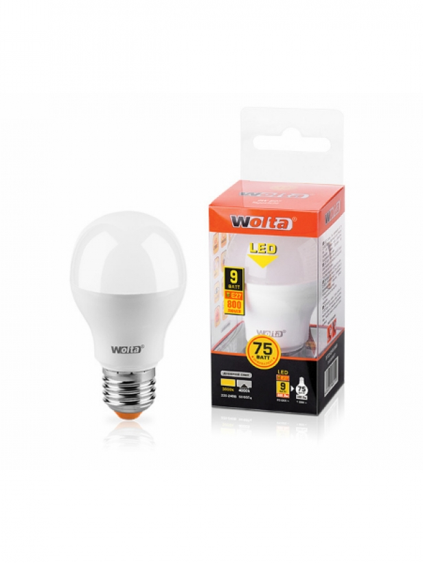 Лампа светодиодная 25Y55BL9E27 9W 230В Е27 3000К 800Lm Wolta